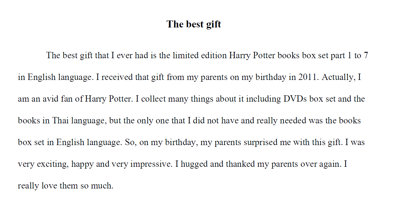 The Best Gift: Harry Potter. Writing example.