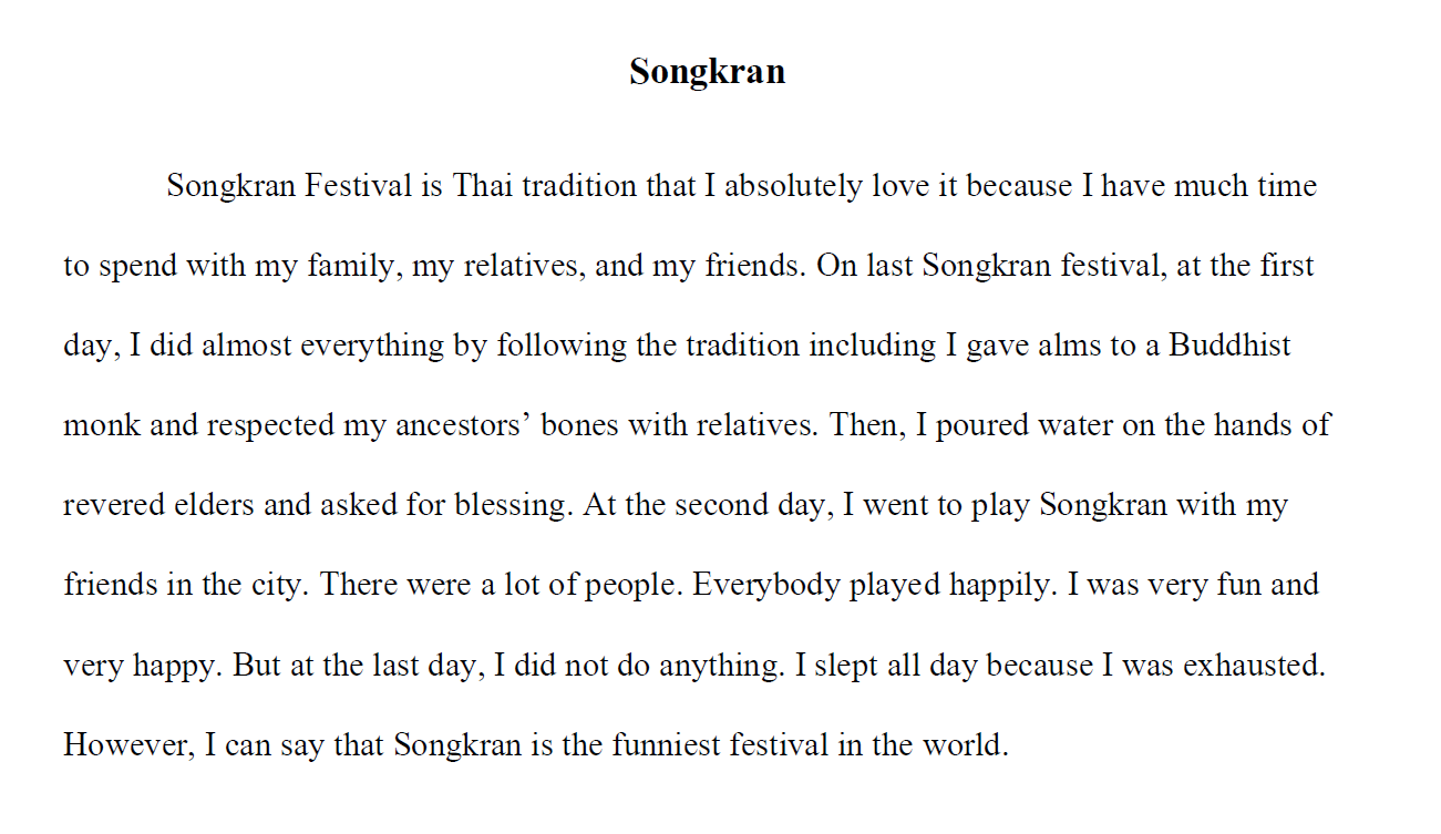 Songkran. Writing example.