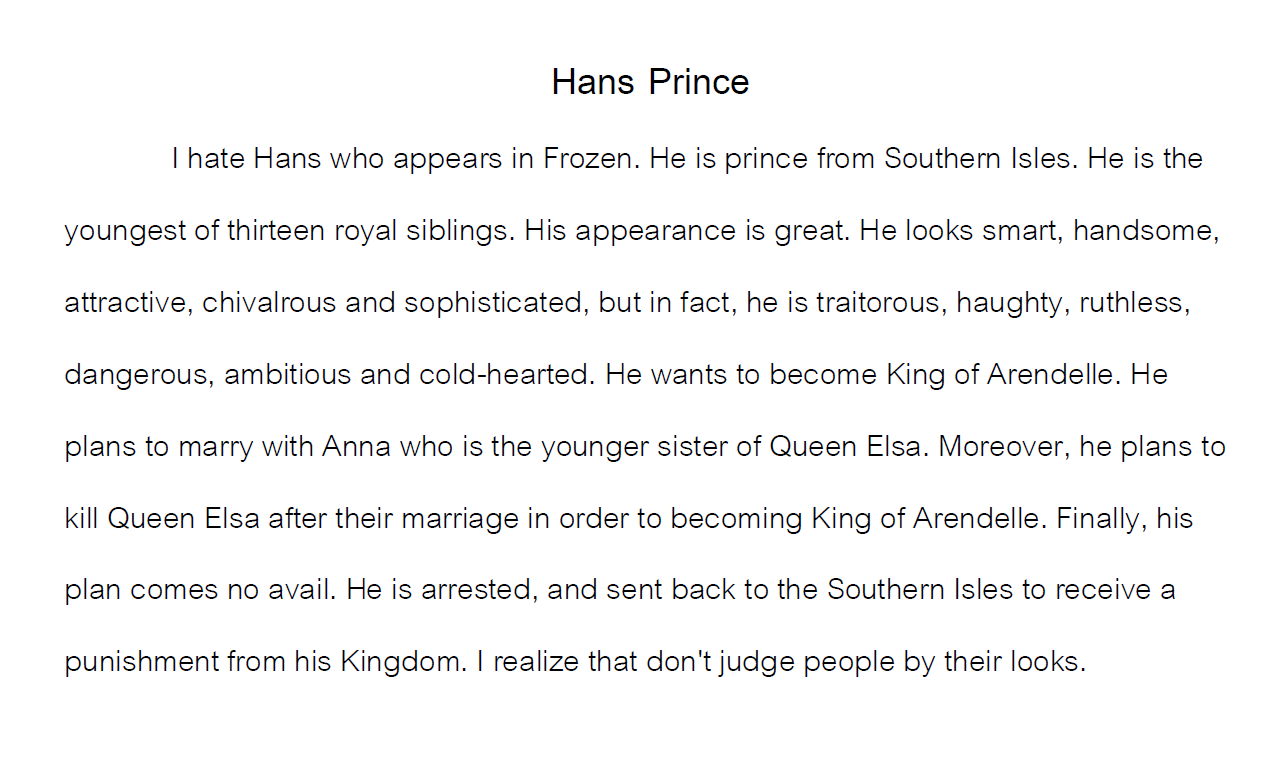 Write about a Person You Hate: Hans Paragraph. Writing example.