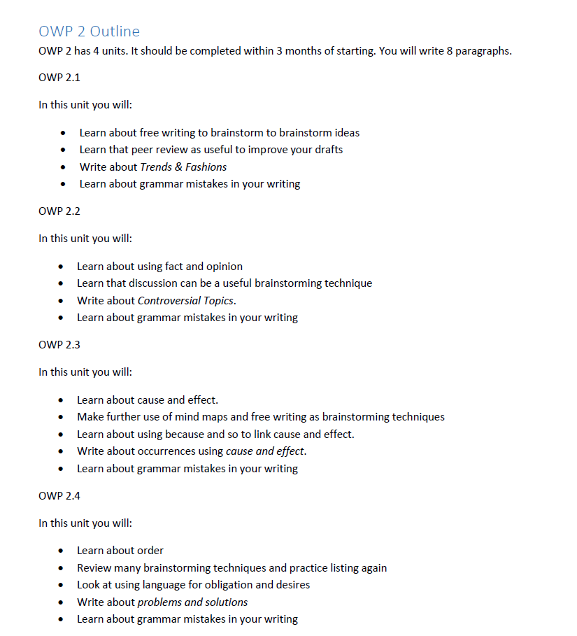 paragraph online writing course outline level 2